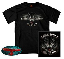 LONE WOLF NO CLUB T-SHIRT BIKER Chopper Motorcycle USA Free Rider Cruiser Harley