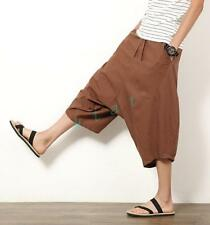 New Mens Spring Fashion Harem Drop Crotch Thin Linen Loose Casual Pants Trousers