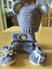 BABY BEAR RIBBED HAT, DIAPER COVER AND BOOTIES  (0-3 months) crochet 3 different