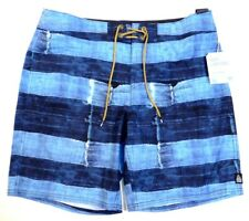 Reef Blue Torn Salvage Graphic Blue 4-Way Stretch Boardshorts Mens NWT