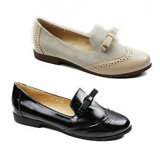 NEW WOMENS LADIES CASUAL FLAT OXFORD LOAFERS BROGUES PUMP SHOES SIZE 3-8