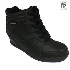 RABEN Ladies Leather Wedge Black Sneaker RAB 15235
