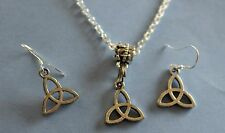 WOMENS SILVERTONE CELTIC KNOT IN 4 STYLE  ALLOY CHARM NECKLACE & EARRINGS SET