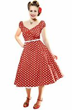 New Vintage Style Dolores Red Polka Dot Swing Dress Rockabilly Pin Up 50s