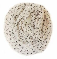NEW NATURAL SOFT VINTAGE WOMEN ANCHOR PRINT LIGHT WEIGHT INFINITY SCARF/ WHITE