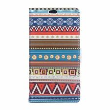 PU Leather Wallet Case Flip Cover Folio Stand Card Slot for Phone Colorful Aztec