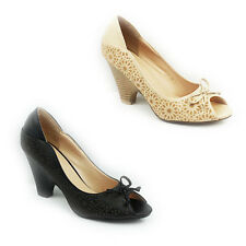NEW WOMENS LADIES MID HIGH CUBAN HEEL PEEP TOE COURT SHOES SANDALS SIZE 3-8