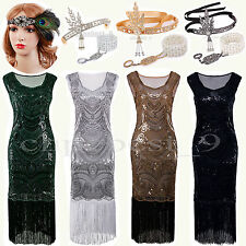 1920s Flapper Dress Sequin Beads Tassel Fringe Party Cocktail Women Costume 8-20