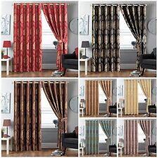 "RingTop Jacquard Curtains Eyelet Pair Fully Lined + 2Tie Backs  66""x72""& 90""x90"""