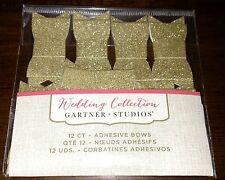 12 New Gartner Wedding Collection Gold Sparkle Adhesive Bows Invitation Stickers