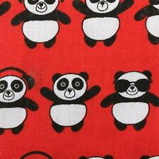 Funky Panda Red Fabric Material Poly Cotton 115cm sold by the metre