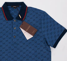 Gucci Polo Shirt Dark Blue Mens Short Sleeve T-Shirt GG Monogram