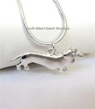 """Silver Crystal Dachshund Necklace Plated 20"""" Dog Doxie Vet Tech Gift Rescue USA"""