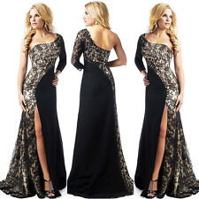 New Women's One Shoulder Long Bridesmaid Dresses Formal Prom Evening Party Gown