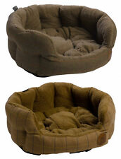 Dog Puppy Oval Pet Bed Luxury Tweed Sherpa Fleece Cushion Petface Basket Bedding