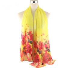 Women Silk Chiffon Scarf Colorful Floral Butterfly Print Long Wrap Shawl Scarves