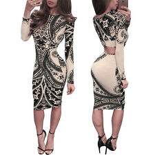 Sexy Women Vintage Hollow Out Long Sleeve Club Wear Bodycon Mini Bandage Dress