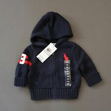 Ralph Lauren Polo Big Pony Cardigan Hoodie Sweater Navy 3 Months NWT Genuine