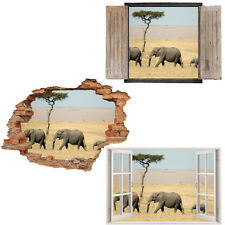 Window Wall Sticker Decal Vinyl 3D Elephant Safari Kids Wild home art room decor