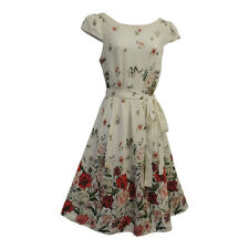 New White Floral WWII 1930's 1940's VTG style Land Girl Swing Tea Dress