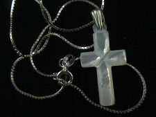 Handmade Mother of Pearl Small Cross 2.5cm Sterling Silver Bethlehem Palestine