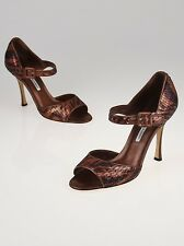 NEW MANOLO BLAHNIK Bronze Sequin ASTUTA Do Mary Jane Heels SHOES 37.5 39 39.5 40