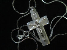 Handmade Mother of Pearl Crucifix Cross 3cm Sterling Silver Bethlehem Palestine