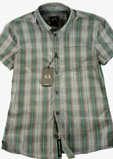 ARMANI EXCHANGE AX Mens Plaid Check Button Front Short Sleeve Shirt Logo NWT $78
