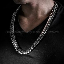 Heavy Mens Silver Curb Necklace Chain 15mm ( Any Length ) -  925 Sterling Silver