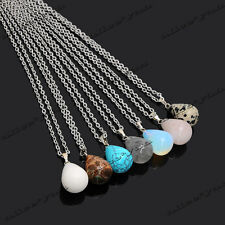 Lots Natural Gemstone Drop Pendant Necklace Stone Charm Jewelry DIY Wholesale