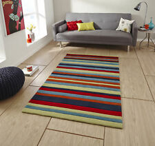 Multi Coloured Large Hand Tufted Striped Floor Rug Contemporary Design Hong Kong