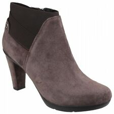 GEOX INSPIRATION Ladies Womens Suede Leather Heeled Ankle Boots Shoes Chestnut