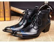 Mens Fashion Leather Oxfords Lace Up Pointy Toe Ankle Boots Dress Shoes Black