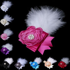 Kid Girl Baby Feather Satin Flower Lace Headband Rhinestone Hairband Party Gift
