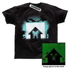 Official MINECRAFT T-Shirt GLOW IN DARK SURVIVAL NEW 6-7 and 12-13 Years