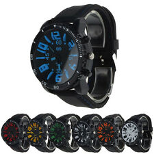 Unisex Fashion Leather Band Silicone Rubber Analog Quartz Watch Sport watch new