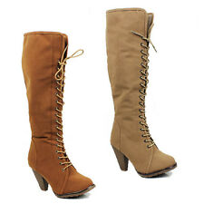 WOMENS LADIES CASUAL KNEE HIGH FUR LINED CUBAN HEEL LACE UP BOOTS SHOES SIZE 3-8