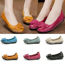 Women Loafers Handmade Flower Leather Moccasin Flat Soft Travel Pumps Hike Shoes