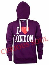 New Womens I Love London Print Fleece Pullover Hoodie Sweatshirt Souvenir Top
