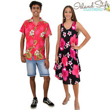 Pink Hibiscus Umbrella Dress & Mens Hawaiian Shirt Costume Set