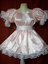 ADULT SISSY BABY SATIN LIL GIRL DELUXE PARTY PAGEANT DRESS W/ATT CRINOLINE SLIP