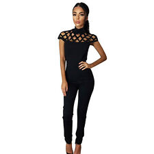 Women Choker High Neck Caged Sleeve Playsuit Long Rompers Women Jumpsuits 2017