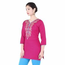 New Indian High Quality Cotton Ethnic Style Dress Top Tunic Women Short Kurti