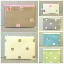 Coin purses with spotty patterns, Handmade in oilcloth with zip, fit cards, new