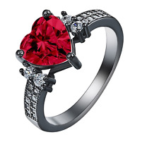 Fashion Jewelry Ruby 925 Silver Heart Forever Wedding Bridal Ring Size 9