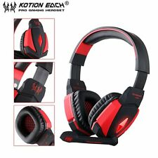 G4000 USB Stereo Gaming Headphone Microphone Volume Control LED Light PC Game AE