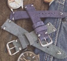 Italian Vintage Genuine Suede Leather Watch Strap H/M 18mm 19mm 20mm Navy, Gray