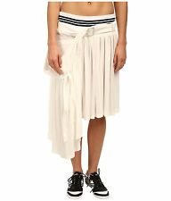 adidas Y-3 by Yohji Yamamoto Womens Core White Summer Track Asymmetrical Skirt L