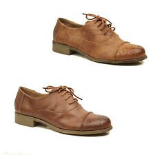 WOMENS LADIES CASUAL LACE UP SCHOOL OFFICE OXFORD LOAFERS SHOES PUMPS SIZE 3-8