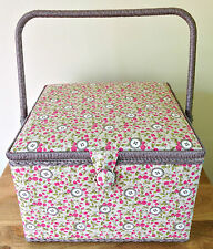 PREMIUM QUALITY SEWING BOX BASKET Extra Large FLORAL BUTTONS